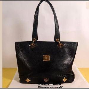 Auth MCM Black Leather Shulder Tote Bag+Dust Bag